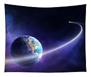 Comet Moving Past Planet Earth Tapestry