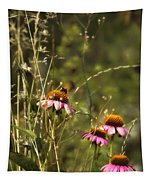 Coneflowers Weeds And Bee Tapestry