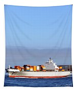 Container Ship At Sea Tapestry by Olivier Le Queinec