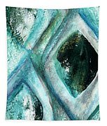 Contemporary Abstract- Teal Drops Tapestry