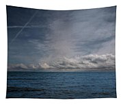 Contrails And Rainclouds Over Lake Michigan Tapestry