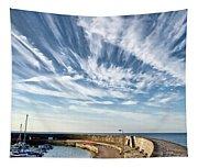 Contrails At Lyme Regis Harbour  Tapestry