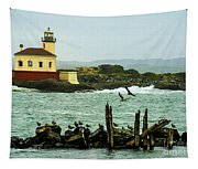 Coquille River Lighthouse And Birds Tapestry
