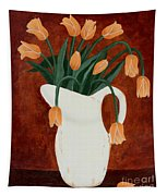 Coral Tulips In A Milk Pitcher Tapestry