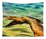 Cormorant On The Move Tapestry