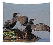 Cormorants Sunbathing Tapestry