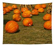 Corn Plants With Pumpkins In A Field Tapestry