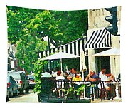 Corner Taverne Terrace French Paris Bistro Painting Sidewalk Cafe Wine Cheese Bar Montreal Cspandau  Tapestry