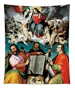 Coronation Of The Virgin With Saints Luke Dominic And John The Evangelist Tapestry