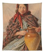 Cottage Girl Seated With A Pitcher Tapestry