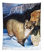 Cougar In Snow Tapestry