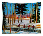 Country Hockey Rink Tapestry
