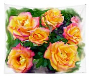Country Roses Watercolor Tapestry