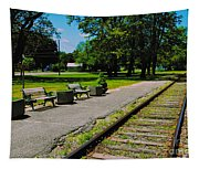 Country Train Station Tapestry
