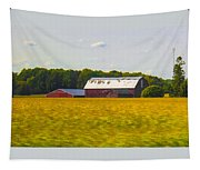 Countryside Landscape With Red Barns Tapestry