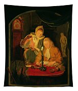 Couple Counting Money By Candlelight, 1779 Panel Tapestry