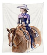 Horse Painting Cowgirl Courage Tapestry