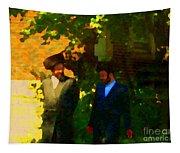Covenant Conversation Two Men Of God Hasidic Community Montreal City Scene Rabbinical Art Carole Spa Tapestry