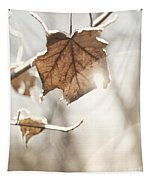 Covered With Ice Maple Leafe On A Sunny Day Tapestry