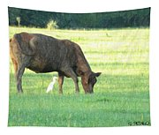 Cow And Friend Abstract Tapestry