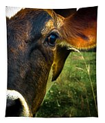 Cow Eating Grass Tapestry
