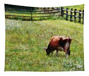 Cow Grazing In Pasture Tapestry