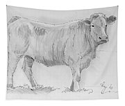 Cow Pencil Drawing Tapestry