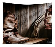Cowboy Boots In Old Barn Tapestry