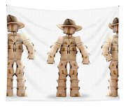 Cowboy Box Characters On White Tapestry