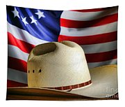 Cowboy Hat And American Flag Tapestry