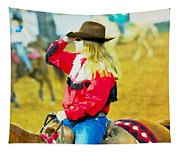 Cowgirl Waiting Tapestry
