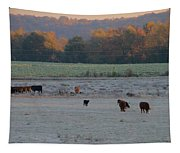 Cows At Sunrise Tapestry
