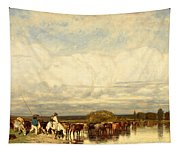 Cows Crossing A Ford Tapestry
