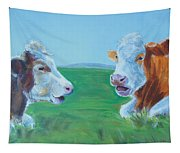 Cows Lying Down Chatting Tapestry