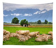 Cows On The Green Field Tapestry