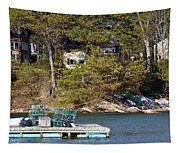 Crab Traps On Boat Near Shore Portland Tapestry