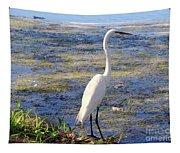 Crane At Pond Tapestry