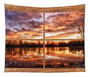 Crane Hollow Sunrise Barn Wood Picture Window Frame View Tapestry