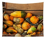 Crate Filled With Pumpkins And Gourts Tapestry