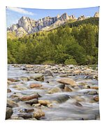 Creek And Castle Crags Tapestry