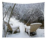 Creekside Chairs In The Snow 2 Tapestry