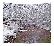 Creekside In The Snow 2 Tapestry