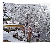 Creekside In The Snow Tapestry