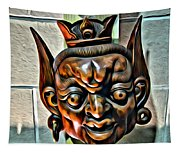 Creepy Mask Two Tapestry