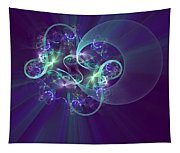 Crescent Moon And Fireworks Tapestry
