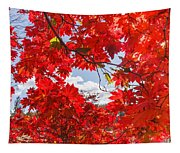 Crimson Red Leaves Background Tapestry