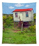 Crooked Little House - Orange Cats Tapestry