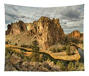 Croooked River Around The Jagged Peaks Tapestry