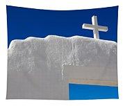 Cross On White Church Tapestry