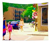 Crossing Notre Dame At Charlevoix To Dilallo Burger Montreal Summer City Scene Carole Spandau Tapestry